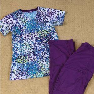 Purple XS Scrub Set